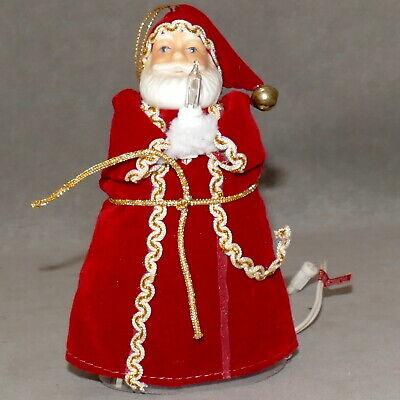 "Christmas FEATHER TREE Tree Topper SANTA or Ornament Mini Light 5.5"""