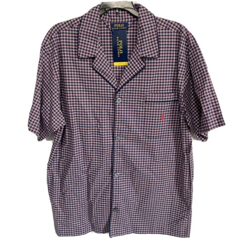 Polo Ralph Lauren Mens Pajama S/S Top Shirt XL Plaid Blue Red Sleepwear Clothing, Shoes & Accessories