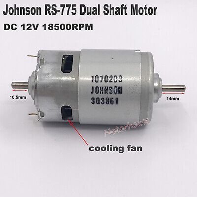 Johnson 1070203 Rs-775 Electric Motor Dual 4mm Shaft Dc12v High Speed High Power