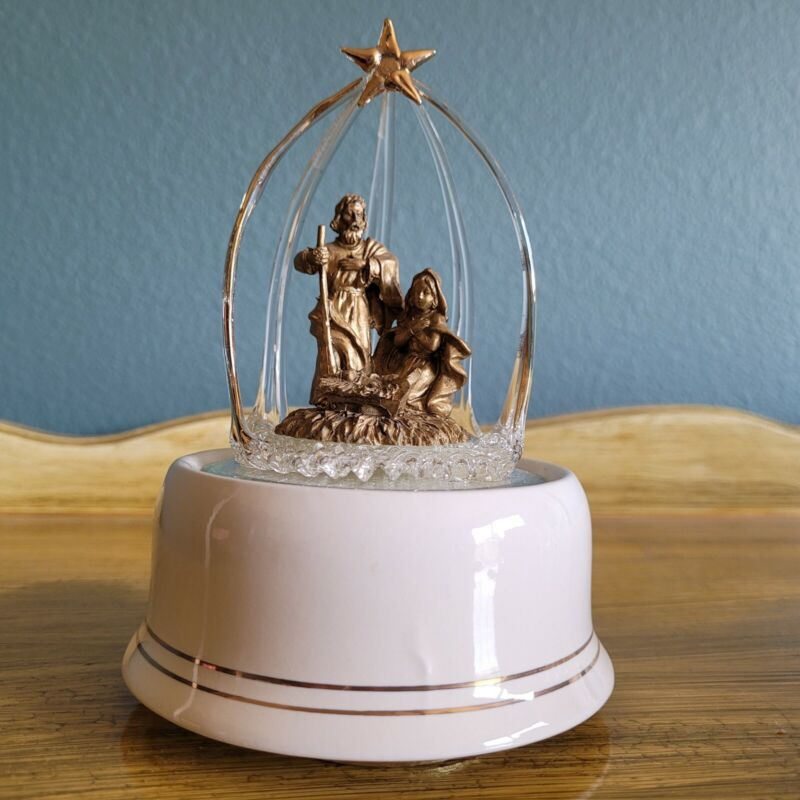 Silent Night Nativity by San Francisco Music Box Company Gold and Clear glass
