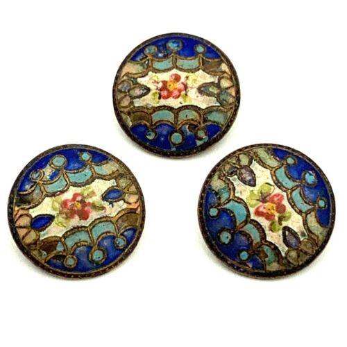 3 Champleve Cloisonne Enamel Buttons, Antique Victorian Metal Painted Floral
