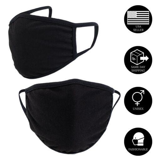 4PCS-Black Double Layer Cotton Face Mask Reusable and Washable