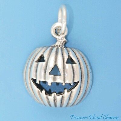 Jack-O-Lantern Halloween Pumpkin .925 Sterling Silver Charm Pendant MADE IN USA](Halloween Jack O Lantern Tradition)