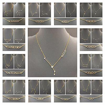 Zodiac Sign Constellation Chain Necklace With Clear Stones Signo Del Zodiaco