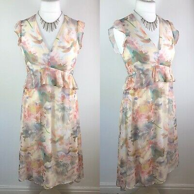 HOPE & IVORY MATERNITY Size 12 Floral Print Ruffle Midi Dress Wedding Party