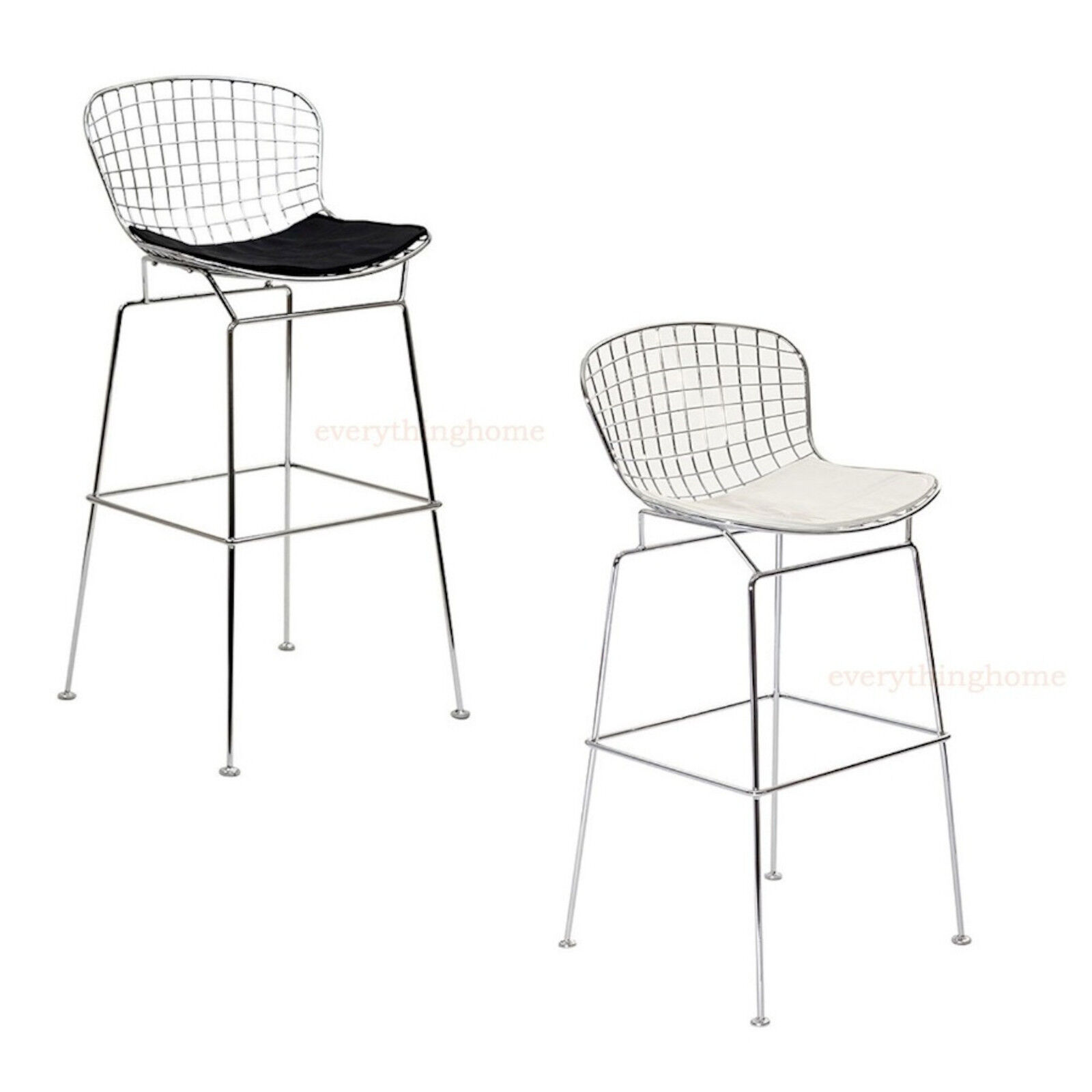 bertoia wire bar stool chrome 305 hgt blk white pad commercial grade 331 lbs