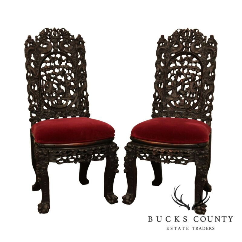 Antique Chinese Rosewood Carved Pair Side Chairs
