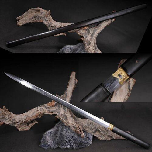 Hand Forged Damascus Folded Steel eight sides edges Jian sword Ebony Saya Sharp