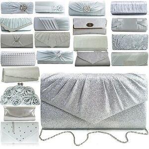 Ladies Silver Evening Bags Glitter Satin Womens Designer Vintage Clutch NEW UK | EBay