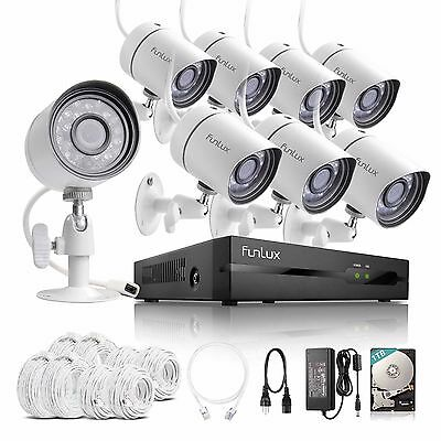 Funlux 1080p 8CH NVR 1.0MP Outdoor IP Network PoE Home Security Camera System 1T