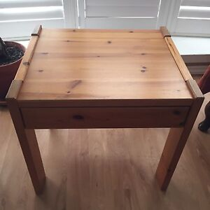 IKEA pine end table with drawer