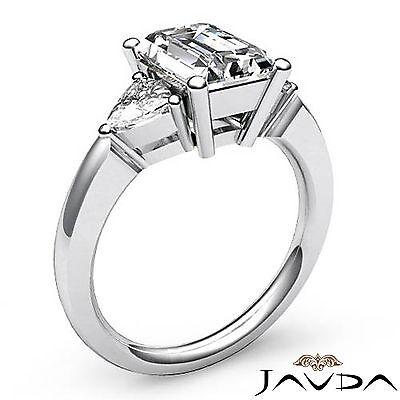 Trillion Cut 3 Stone Emerald Diamond Engagement Prong Set Ring GIA I SI1 1.55Ct 1