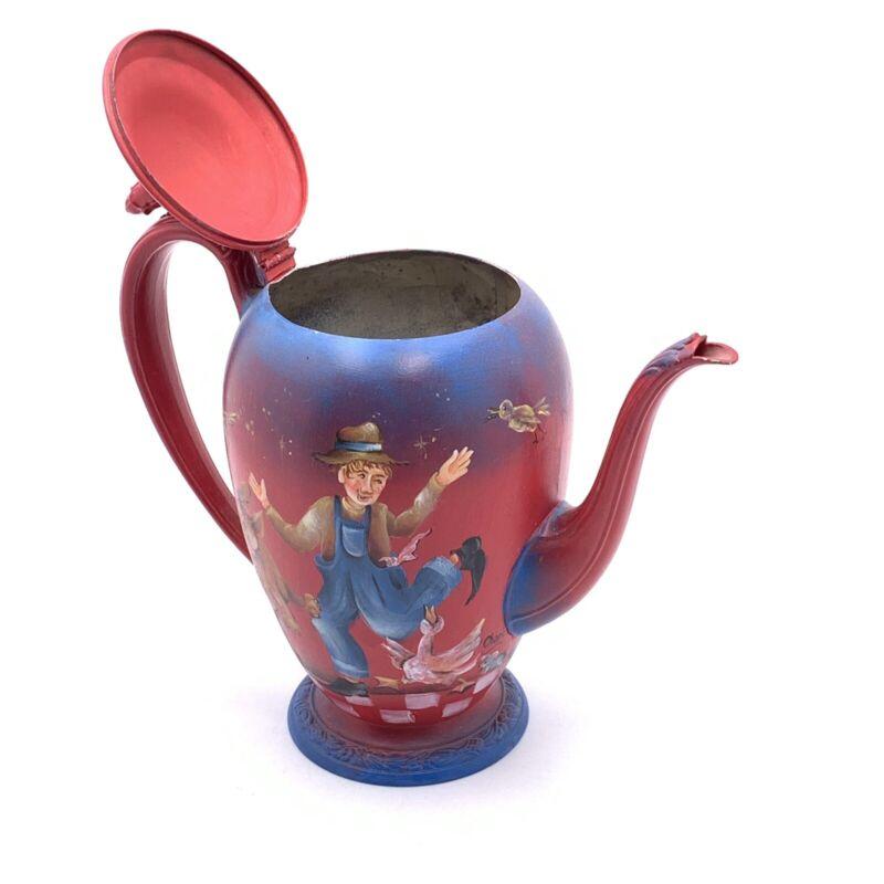 "VTG metal toleware 12"" hand painted pitcher Cheri Lockhart Nursery Rhyme farm"