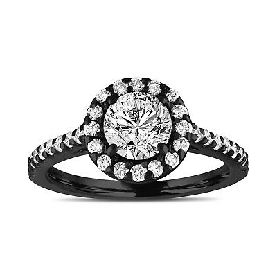 Vintage Style Diamond Engagement Ring Gia Halo Pave 14k Black Gold 1.55 Carat