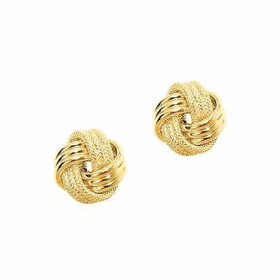 New Mcs Jewelry 14 Karat Yellow Gold   Mesh Love Knot Earrings Solid 14K  9 Mm