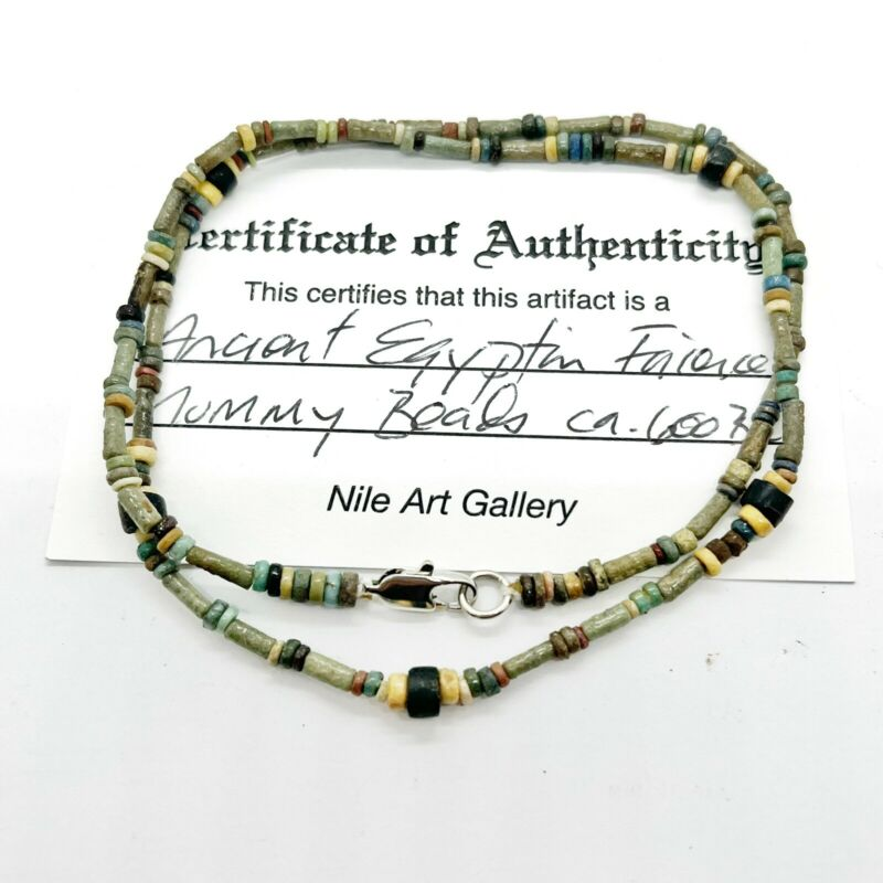 Ancient Egyptian Faience Clay Mummy Bead Necklace COA Artifacts Ca. 600 BC - A