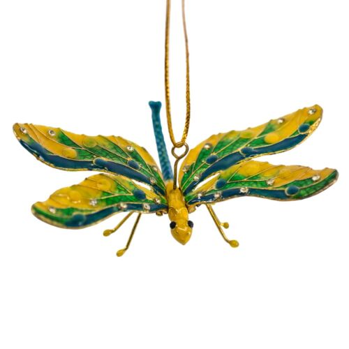 Cloisonne Enameled Metal Articulated Dragonfly Ornament Yellow/Green Wings