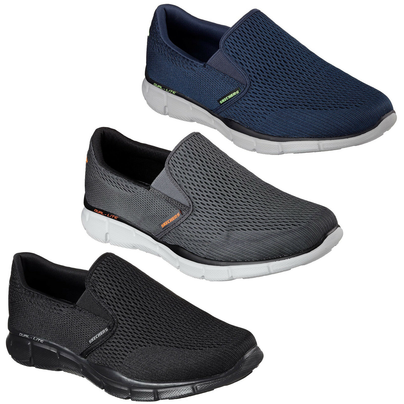 ff4b4b4c23ec Details about Skechers Equalizer Double Play Trainers Mens Memory Foam Knit  Mesh Slip On Shoes