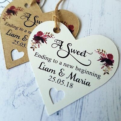 Personalised Wedding Favour Heart Gift Tags A Sweet Ending To A New Beginning  (Sweet Ending)