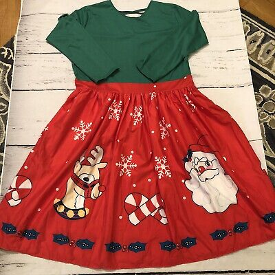 New Rose Gal Womens Plus Size 4X Lightweight Christmas Dress Santa Reindeer