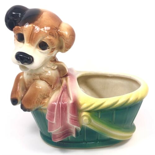 Vintage 1950's Puppy Dog in a Basket Ceramic Planter