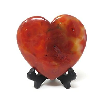 767g LARGE Red Agate Stone Heart 4.875 x 5.25 inches - Has Flaws Stand Included