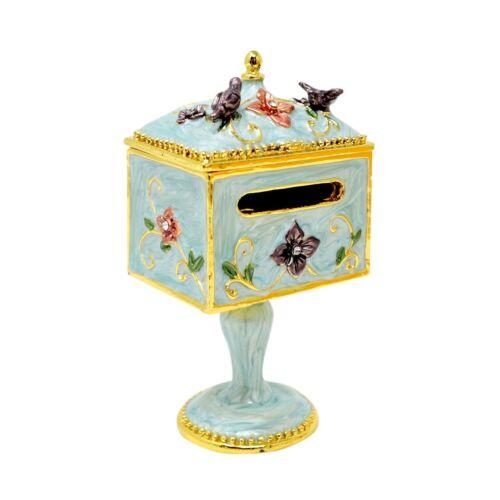 Victorian Shabby Chic Mailbox Stamp Dispenser Birds Flowers Blue Trinket Box