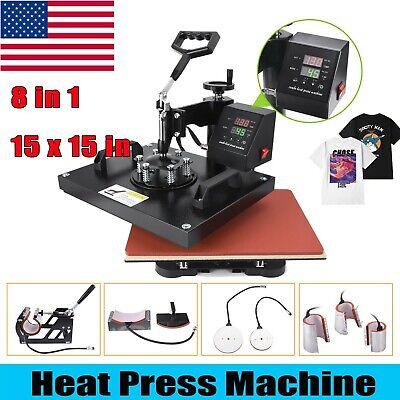 15x15 8 In 1heat Press Machine Digital Printing Diy Sublimation For T-shirt