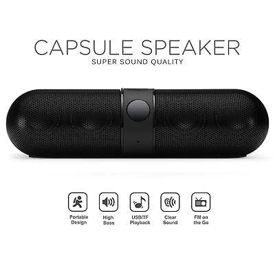Bluetooth Wireless Speaker Mini Super Bass Aux USB Stereo Mp3 Pill Speaker Black