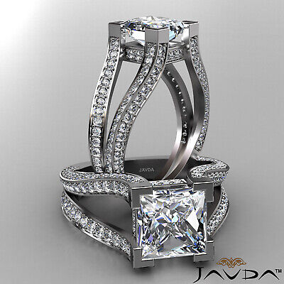 Circa Halo Split Shank Princess Diamond Engagement Pave Set Ring GIA H VS2 2.4Ct