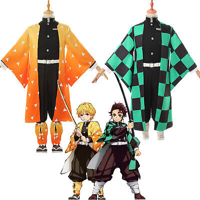 Demon Slayer Kamado Tanjirou Agatsuma Zenitsu Cosplay Costume Kimono Outfit Suit - Demon Slayer Costume