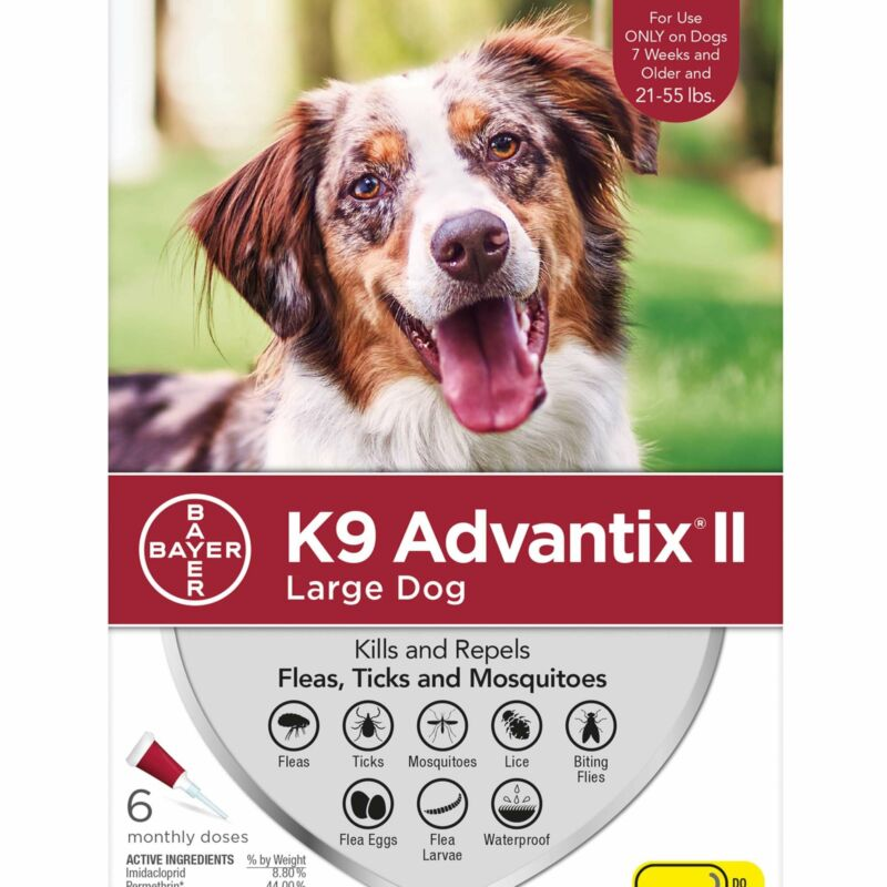 K9 Advantix II for Large Dogs 21-55 lbs 6 Pack - FREE Shipping