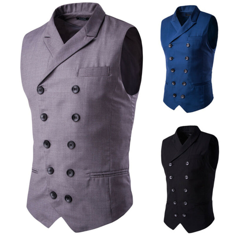 Men Business Work Dress Suit Vest Slim Fit Tuxedo Waistcoat