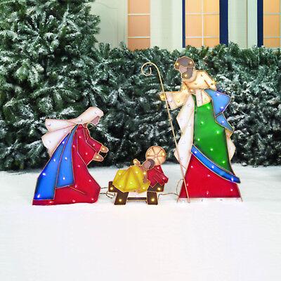 Christmas Outdoor LED Nativity Mosaic Mary Joseph Jesus Holiday Lawn Scene NEW