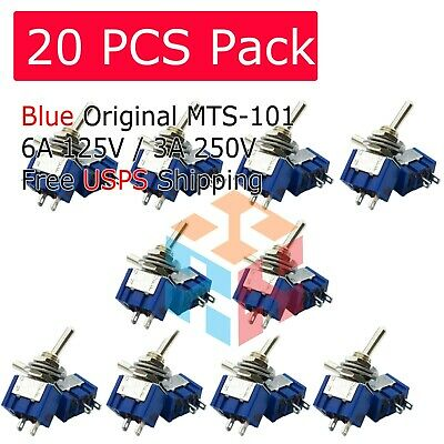 20pcs Mts-101 2 Position Mini Toggle Switch 2 Pin Spst On-off 6a 250vac Us Stock