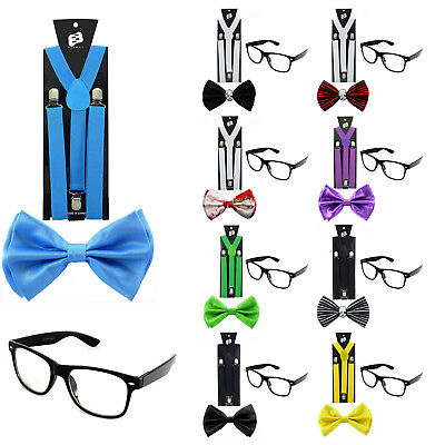 NERD COSTUME SET Halloween Suspender Sunglasses Bow Tie Adult & Kids Blood Skull