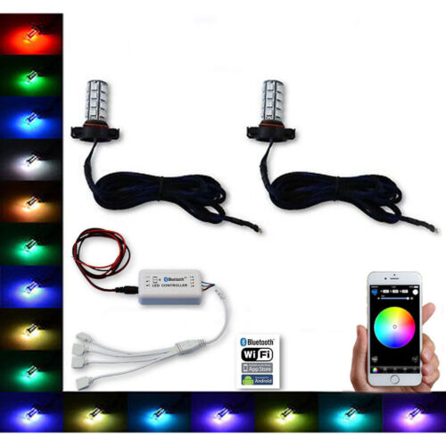 H16 5202 27 SMD RGB Multi-Color Changing Shift Led Fog Lamp Bulb Bluetooth Pair