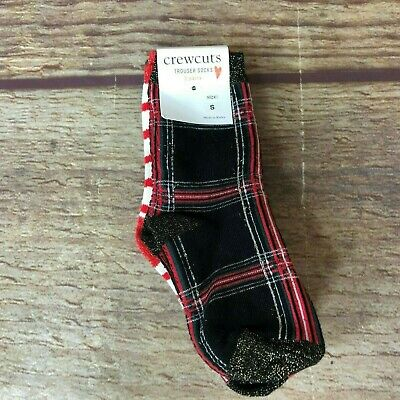 J Crew CrewCuts Girls Size Small Red Reindeer Christmas 3 Pairs Trouser Socks