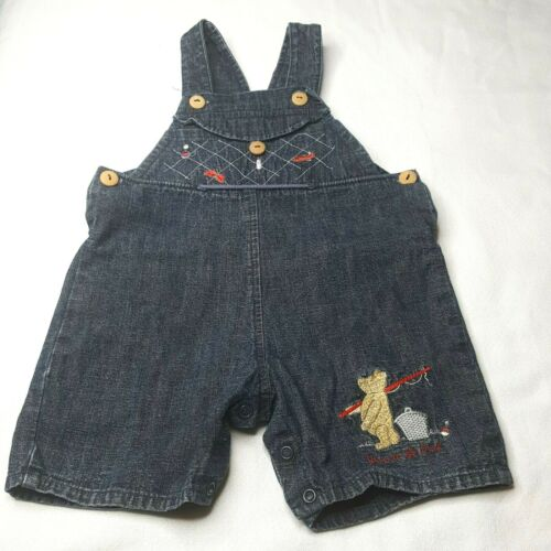 Clayeux Disney Denim Short Overalls with Winnie the Pooh Fishing Size 6mo