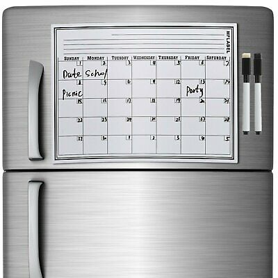 17 X 11 Monthly Dry Erase Magnet Fridge Calendar Flexible White Board Planner