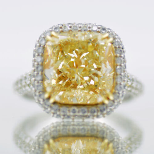 GIA Certified Diamond Engagement Ring 6.50 Carat Fancy Yellow Cushion Platinum