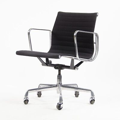 Eames Herman Miller Aluminum Group Executive Desk Chairs Black Fabric 7 Avail for sale  Hershey