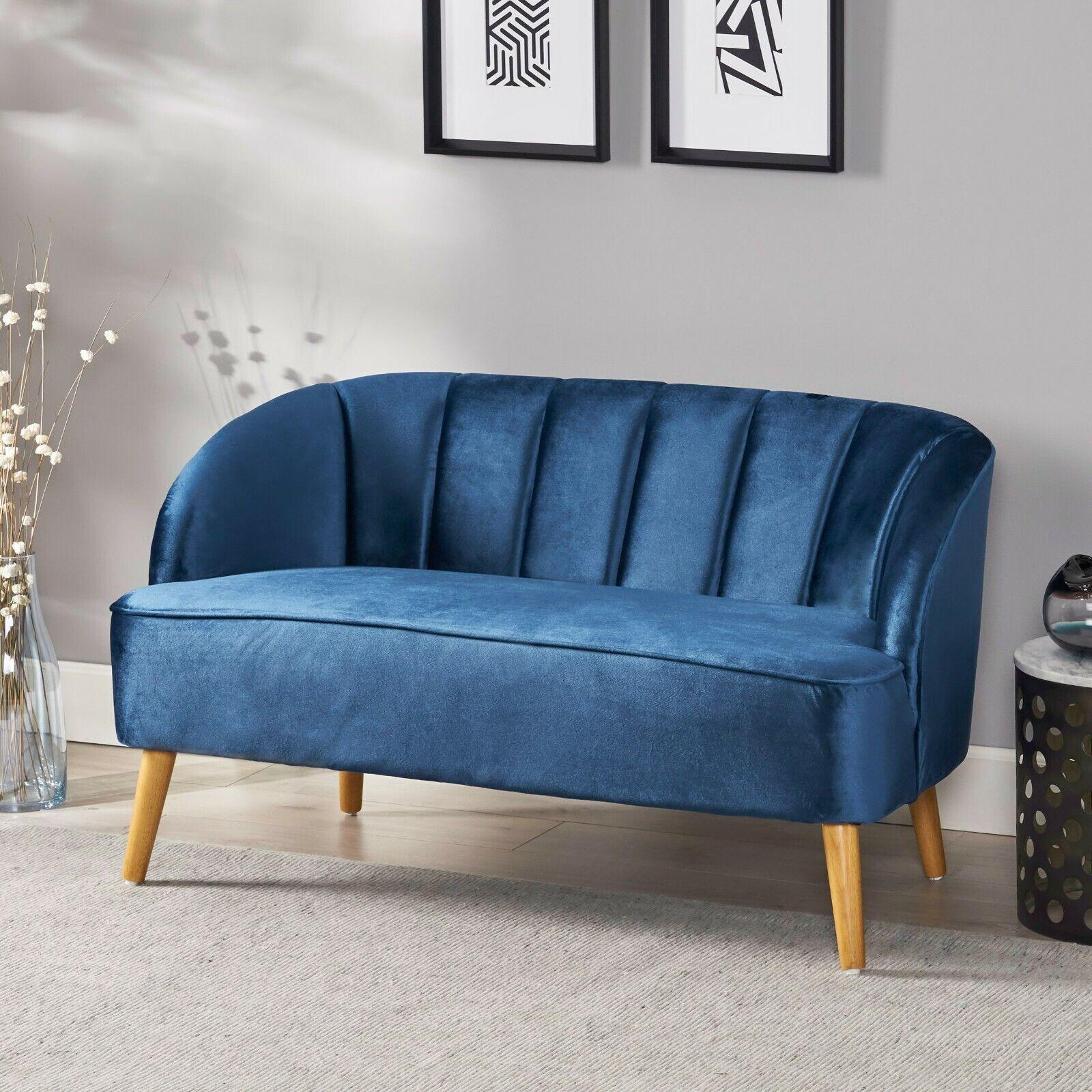 Scarlett Mid-Century Modern Channel Stitch Velvet Loveseat w/ Seashell Backrest Furniture