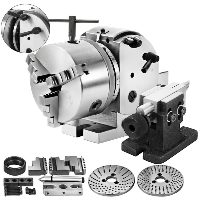 """BS-0 5"""" Indexing Spiral Dividing Head 3-Jaw Chuck Tailstock For CNC Milling"""