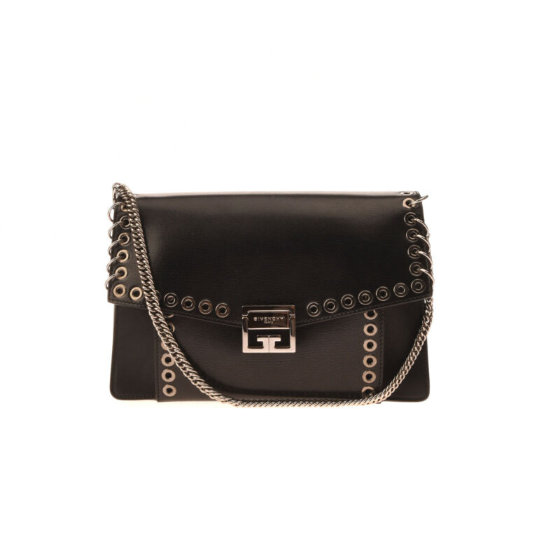 RRP €3055 GIVENCHY Leather Shoulder Bag Grommets Chain Handle Logo Flip Lock
