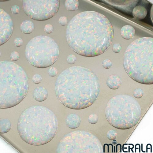 [WHOLESALE] WHITE SYNTHETIC LAB CREATED LOOSE OPAL ROUND CABOCHON WP00066