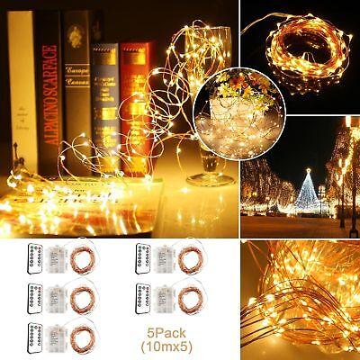 5pcs 100LED 10M Copper Wire Warm White String Fairy Lights 8 Light Mode +Remote