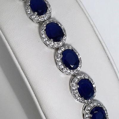 "New 925 Sterling Silver 99ct Blue Oval Sapphire & White Topaz 7"" Tennis Bracelet"