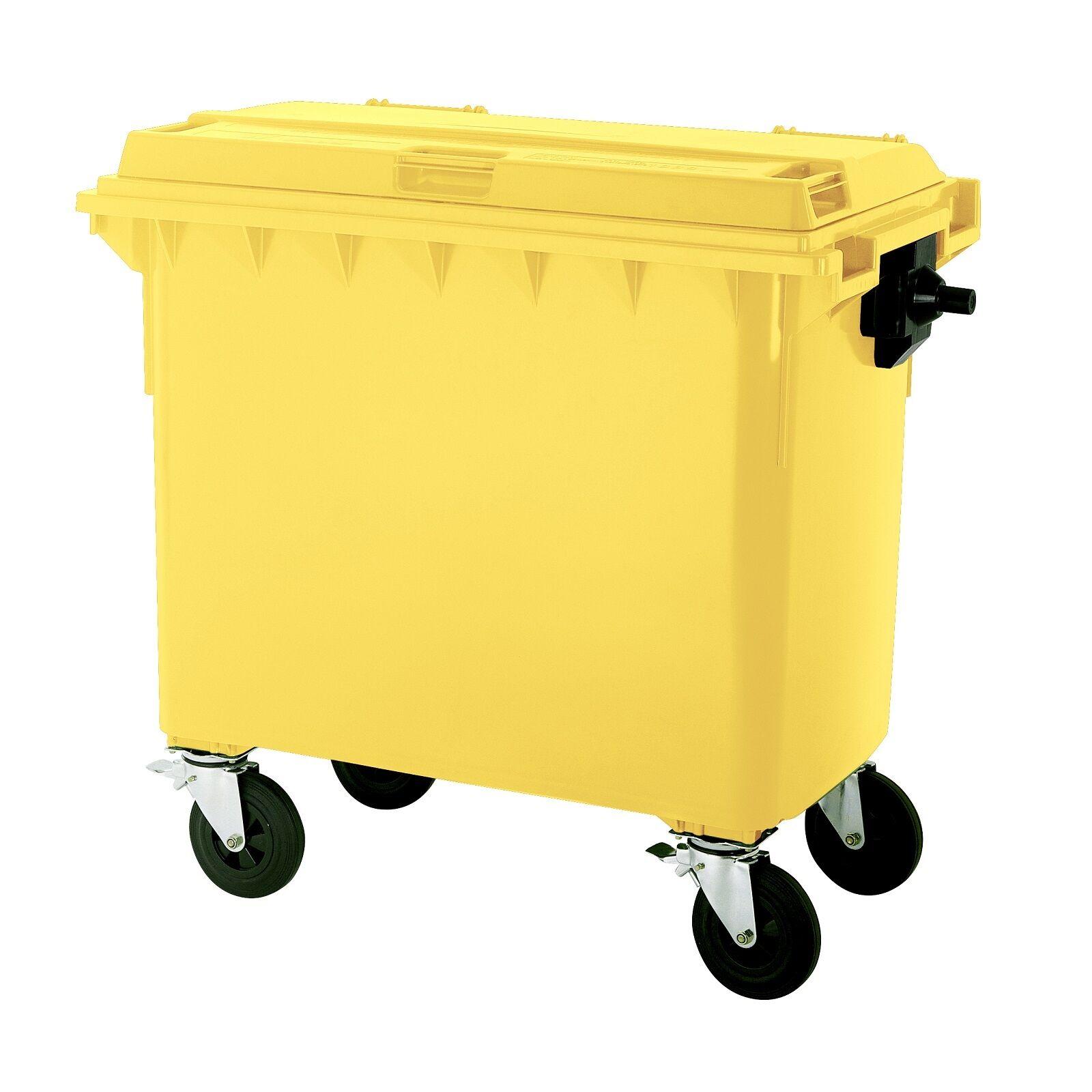 Müllgroßbehälter Großmüllcontainer Abfallcontainer 660 Liter Flachdeckel gelb