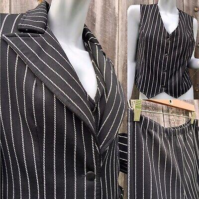 Vintage 1970s Women's Striped 3 piece Zoot Suit Wide Leg Pants Costume Size 8/10